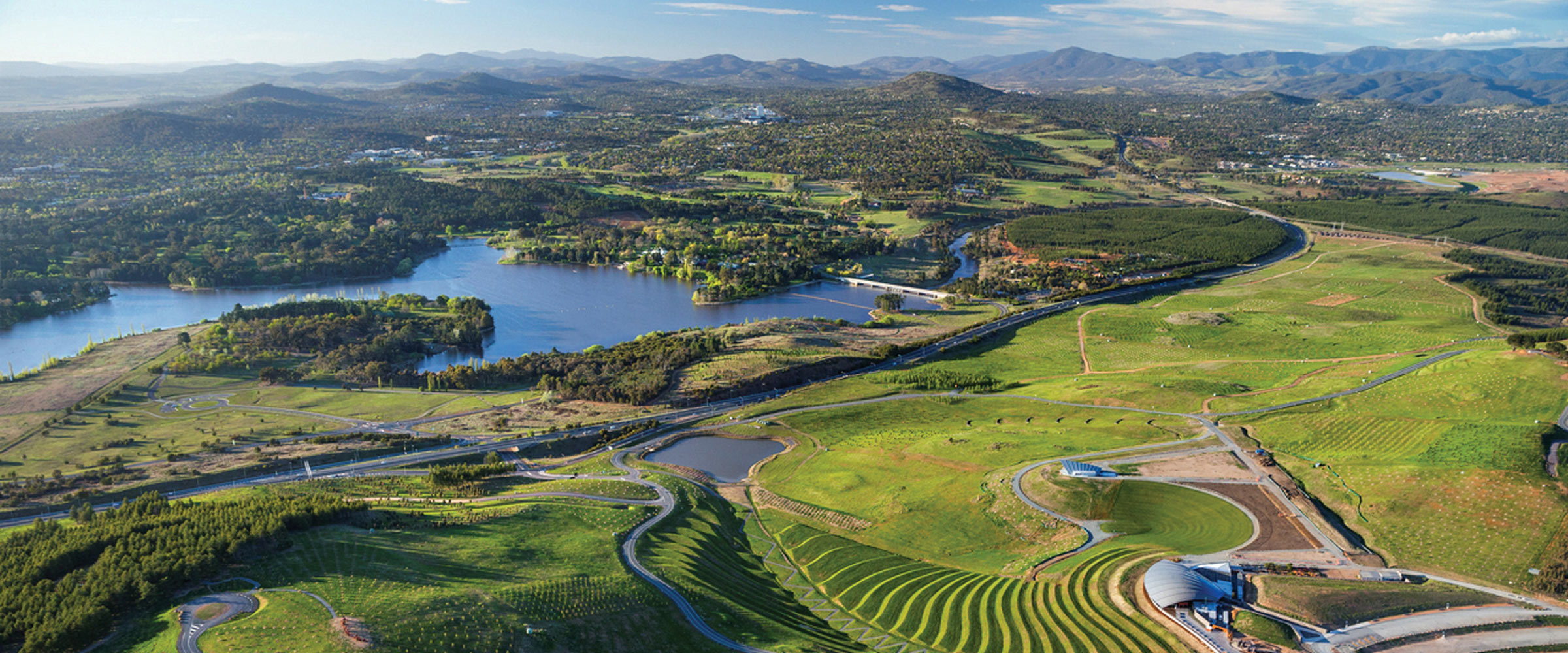 Aerial view of National Arboretum Canberra