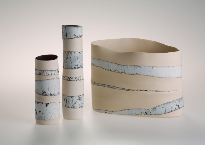 Joanne Searle, Soundscape series, 2016. Stoneware and porcelain clay, stain, sandblasting.