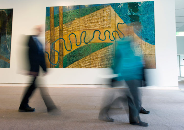 Photo DPS/Auspic; in background, Michael Ramsden (born 1944) and Graham Oldroyd (born 1953) Coastal river, one of six River Odyssey panels, 1986-1988, Parliament House Art Collection, Canberra, ACT