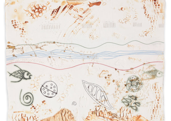 Anita McIntyre, Impressed 1, 2017. Porcelain clay, stamping, monoprint, screen printing, drawings, terra sigillata. 29 x 36 x 1cm.