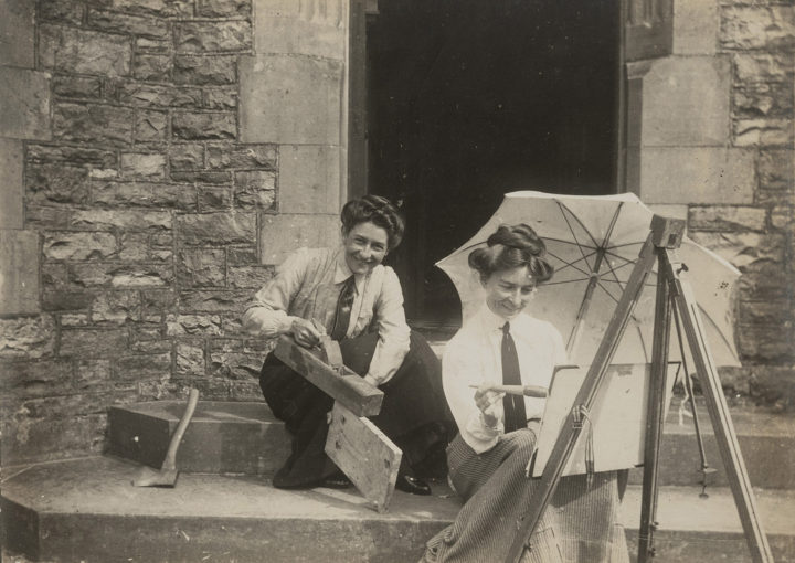 Eirene Mort (right) and Nora Weston c1905, Mort Family Estate, photo RLDI