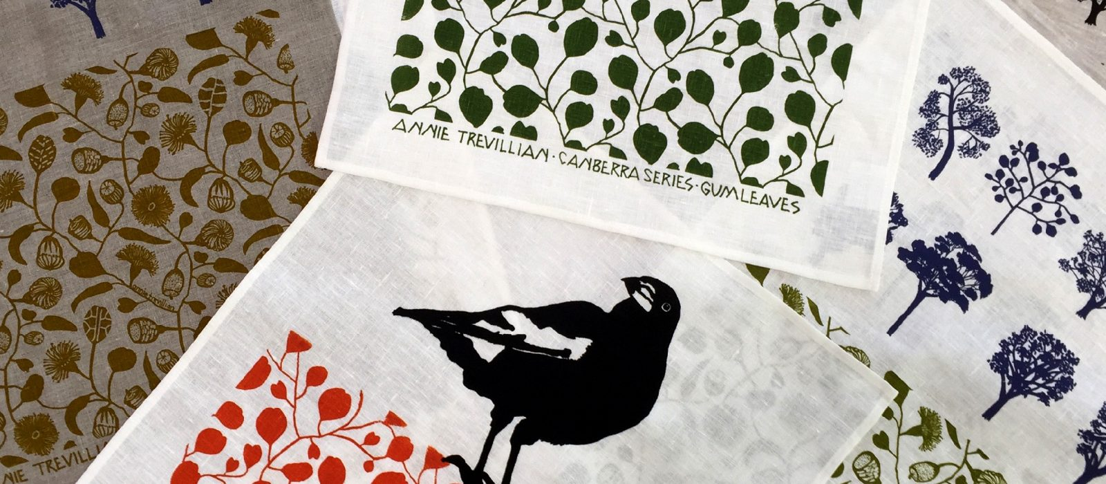 Annie Trevillian, screen printed tea towels. Photo: Courtesy of the artist.