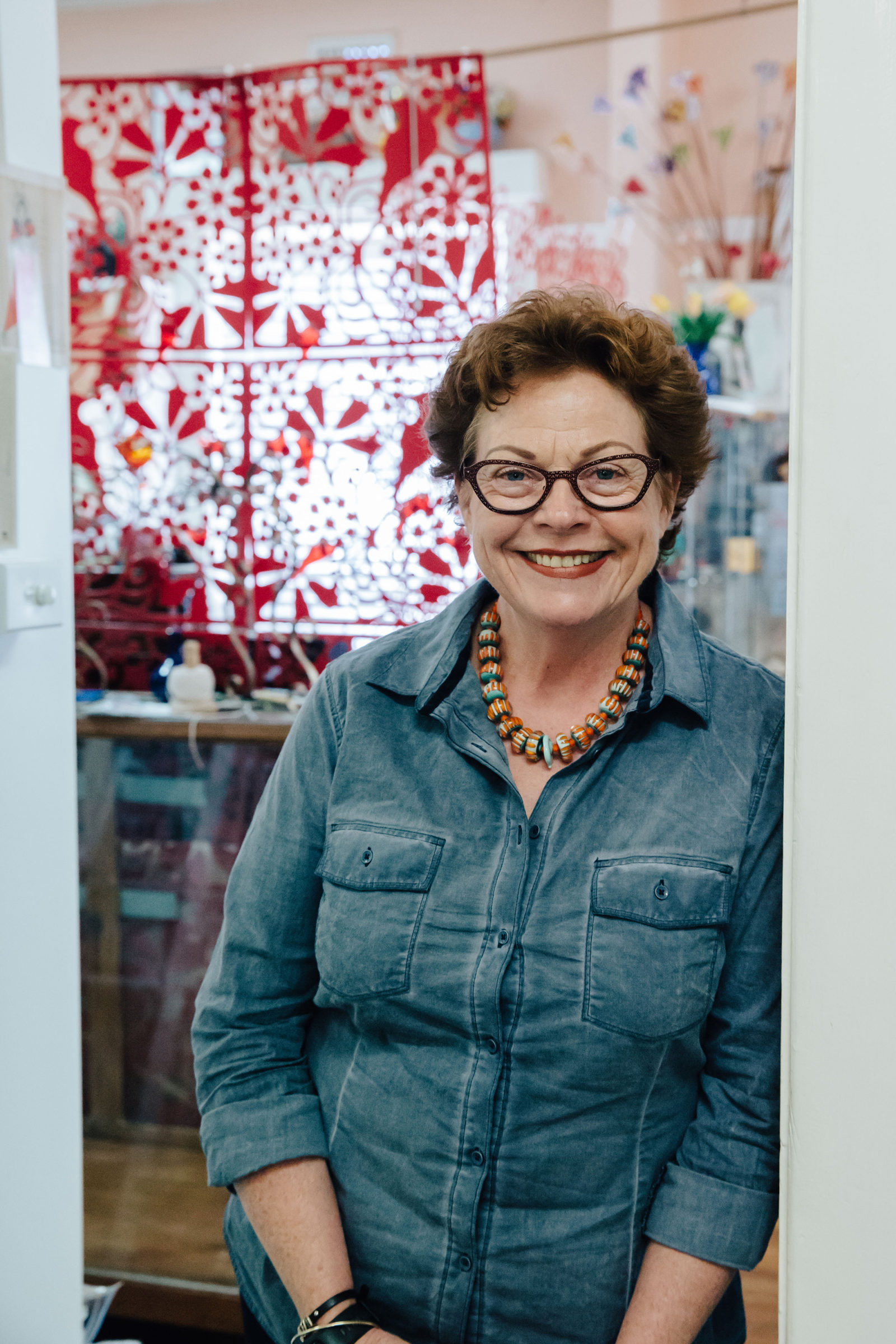 Carole Griffiths in her studio. Photo: Andrew Sikorski