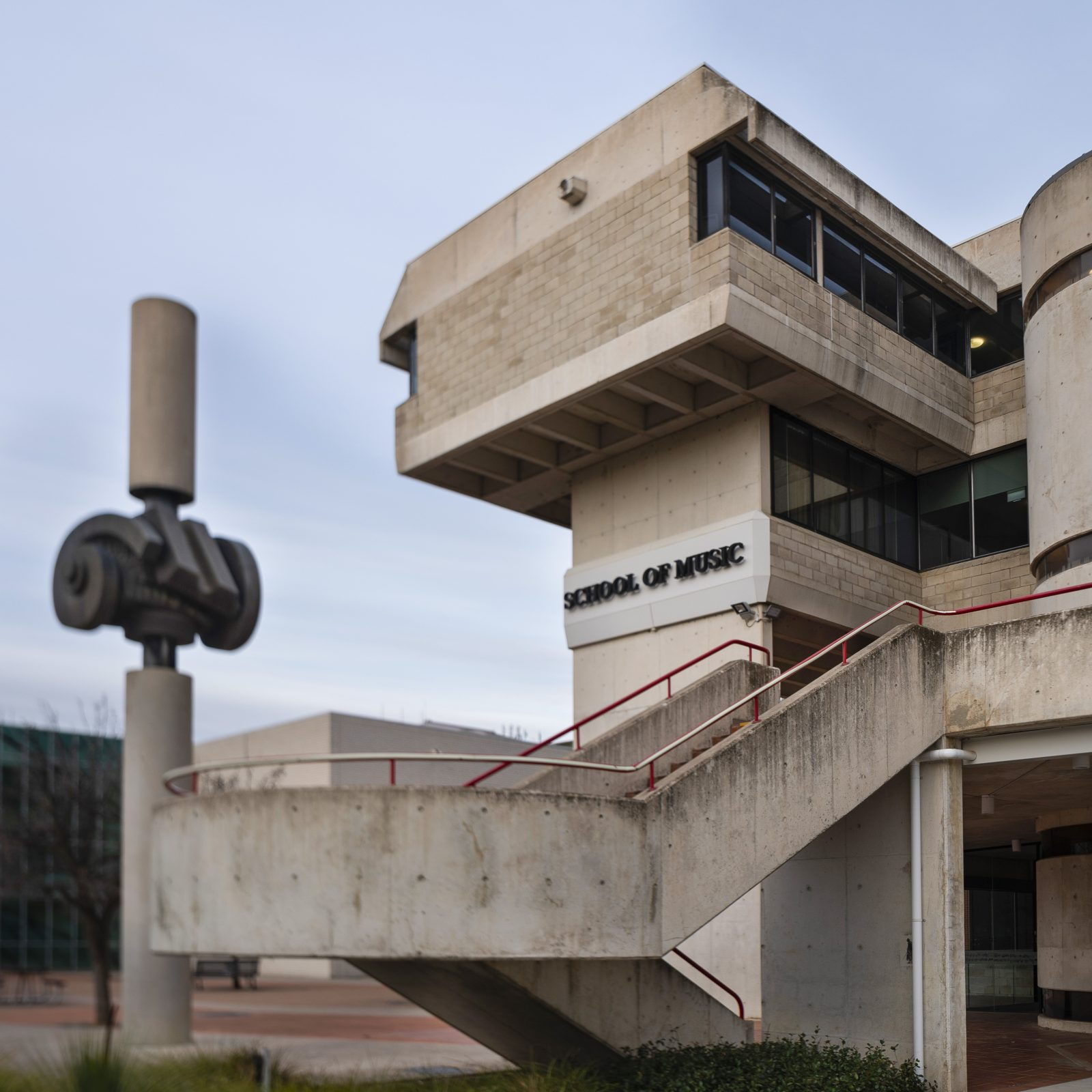 The brutalist ANU School of Music building is home to Llewellyn Hall and designed by Daryl Jackson.