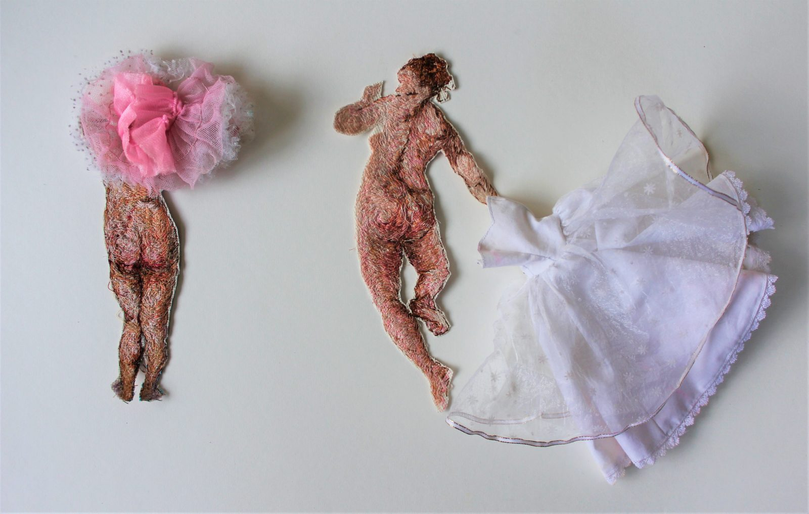 Image: Naomi Zouwer, Unbridled - after Reubens and Boucher, embroidery floss and vintage dolls clothes, 2019.