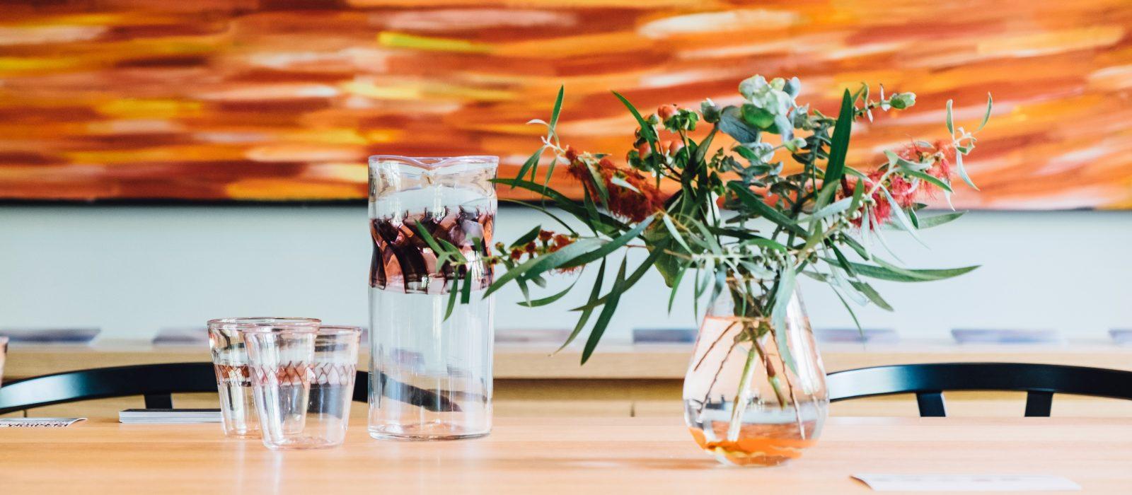 Rob Schwartz, Jug + Cups, Rose-Mary Faulkner, Posie Vase, Design Canberra Living Rooms 2017. Photo: Trang Arya.