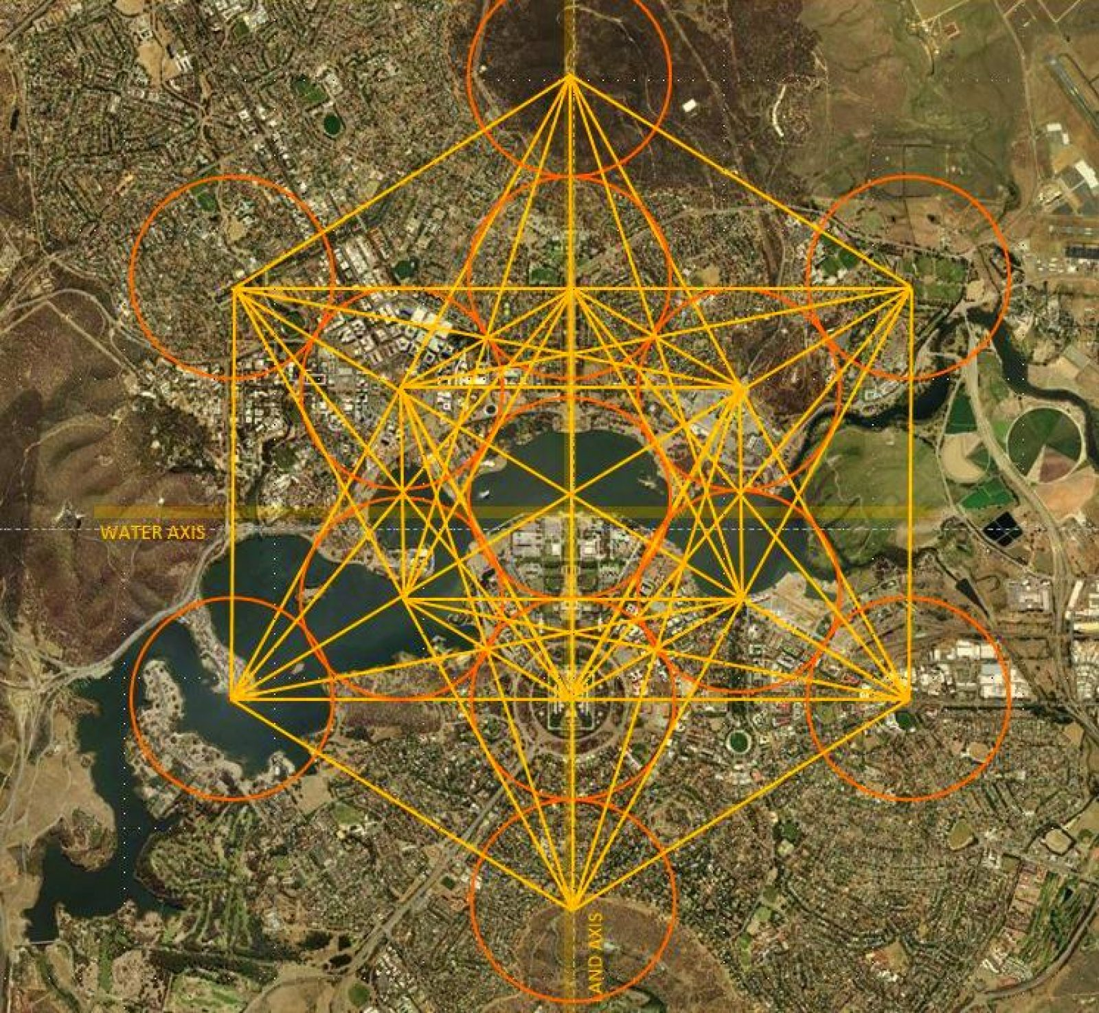 Metatron's Cube superimposed over the map of Canberra