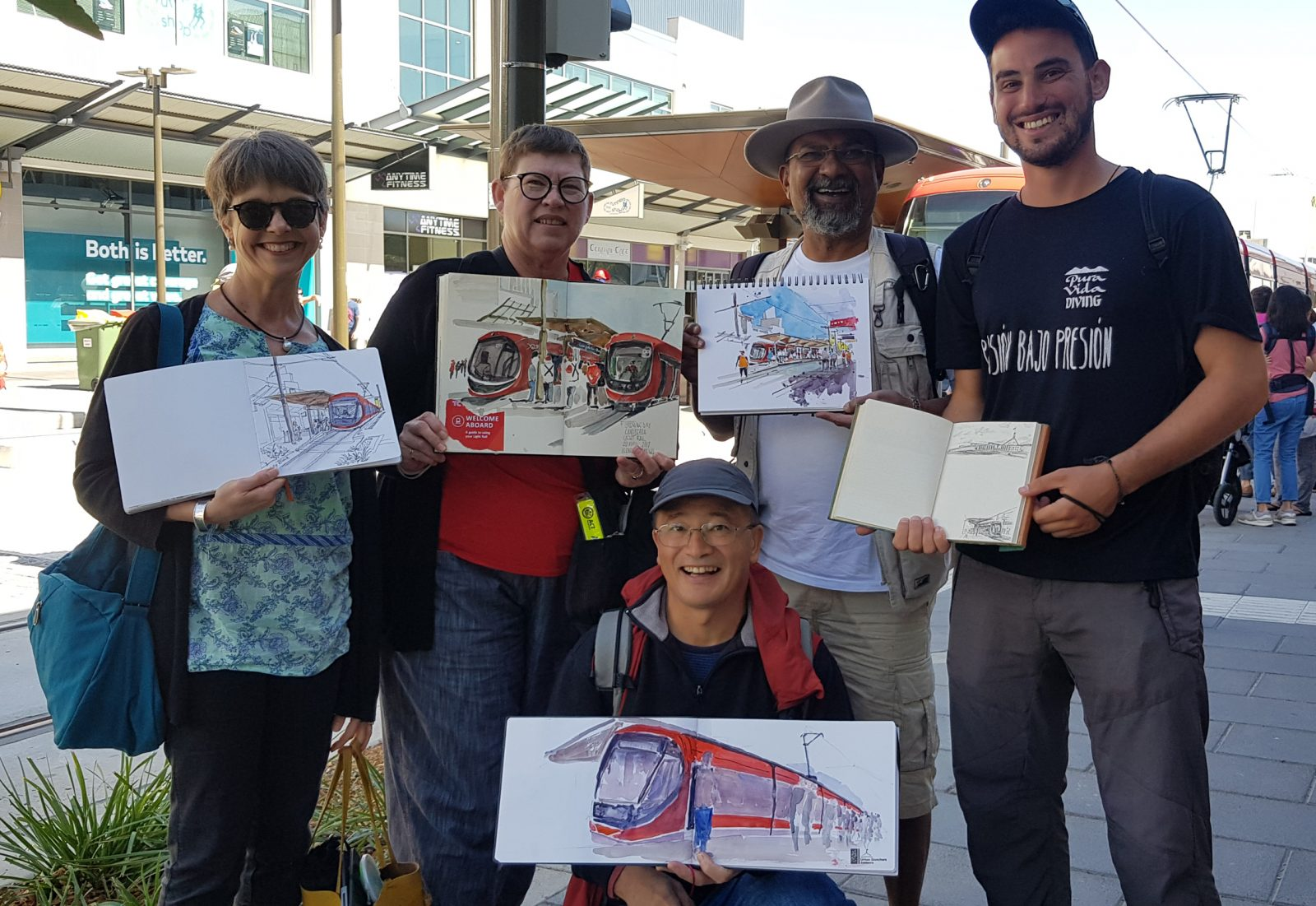 Opening Day of the Light Rail. Image: Urban Sketchers Canberra