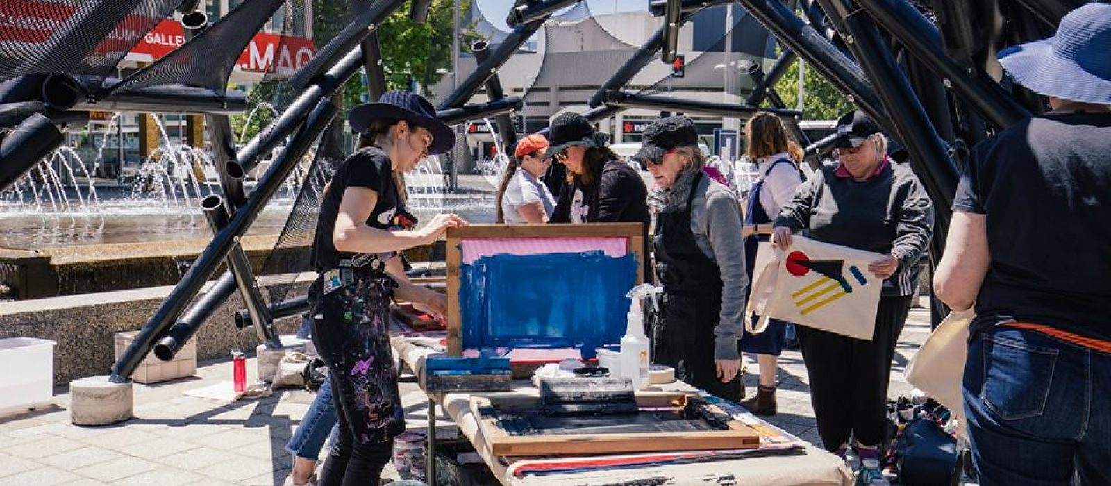 Megalo printmaking workshop in Civic Square 2019. Photo: 5 Foot Photography