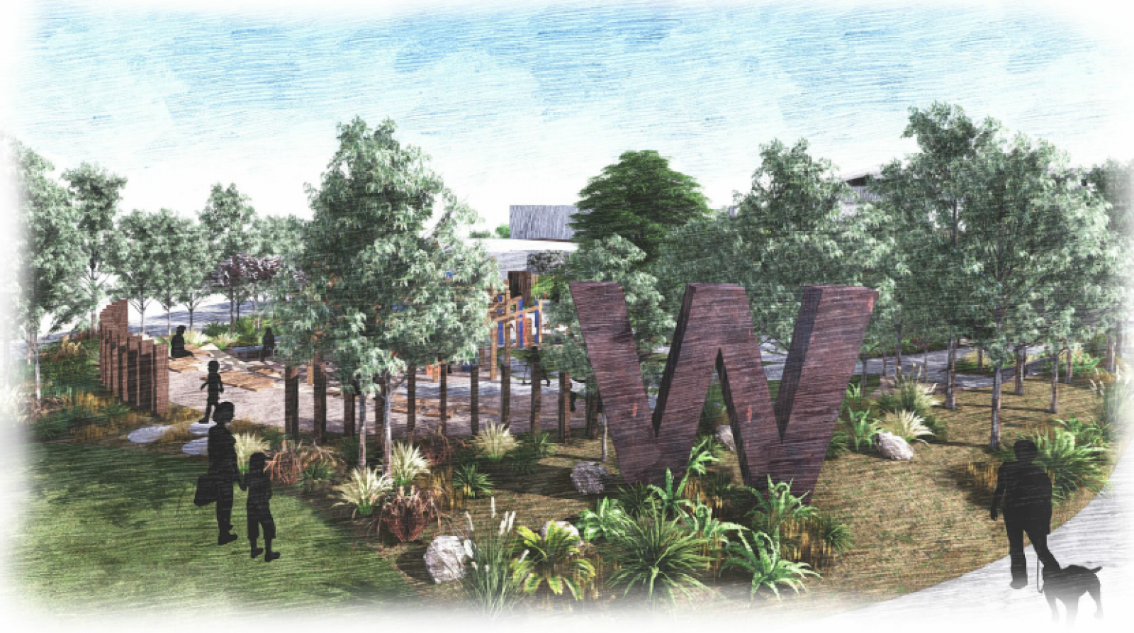 Indicative perspective of the future Whitlam Display Village community play space (Redbox Design Group, 2020).