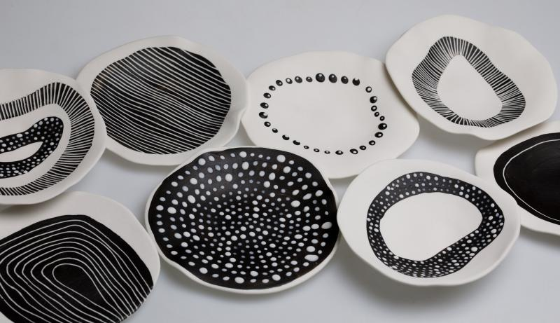 black and white porcelain tableware